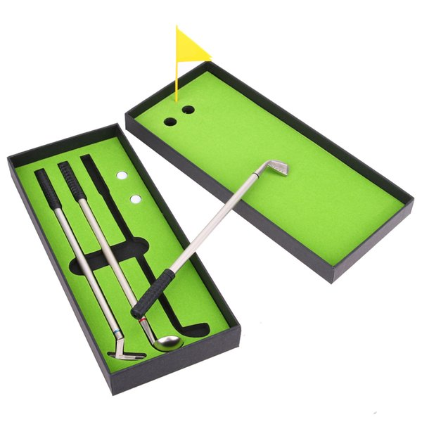 3pcs Mini Golf Clubs Models Ballpoint Pens 2 Golf Balls + Flag Putter Kit Set with Box Birthday Gift for Sports Enthusiast