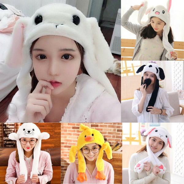 Divertente peluche animale coniglio orecchio cappello coniglietto Cap con airbag salto orecchio mobile nuovo