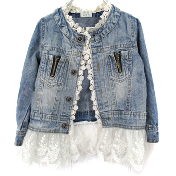 Baby Girls Denim Jacket Kids Long Sleeves Cowboy Coat with Lace Top Fashion Children Jean Outwear Outfits