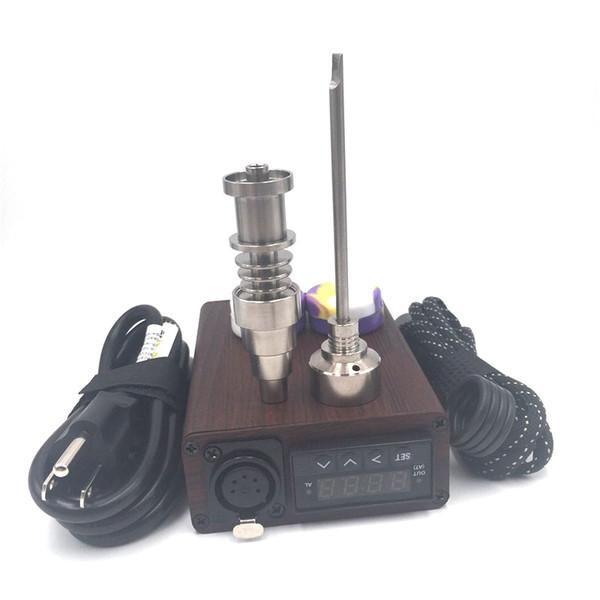 Electric Dab Nail Wood Camo E Nail TC PID Box Rig Dnail Enail Kit Domeless Titanium Ti Carb Cap Free DHL