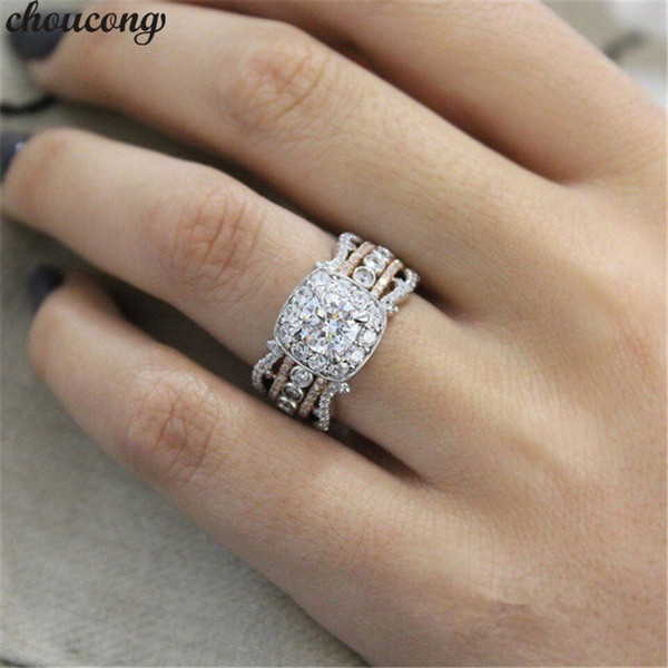 Choucong Vintage Promise anello 5A Zircon Cz Rose Gold Filled 925 argento Anniversary Wedding Band Anelli per le donne Gioielli Party