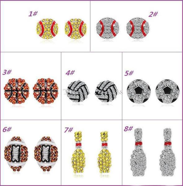 With Full Rhinestone Baseball/Football/Basketball Stud Earrings Fashion Sports Jewelry Best Friend Gift For Team Club Base Ball Lovers