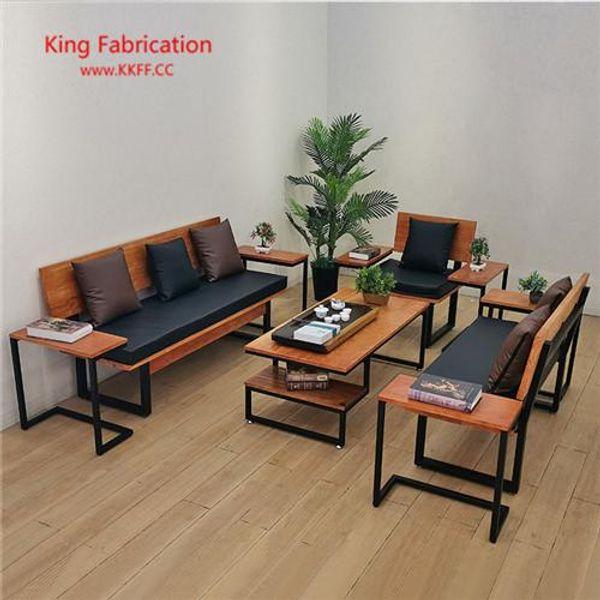 Loft sofa coffee table combination office American retro wood longue sofa