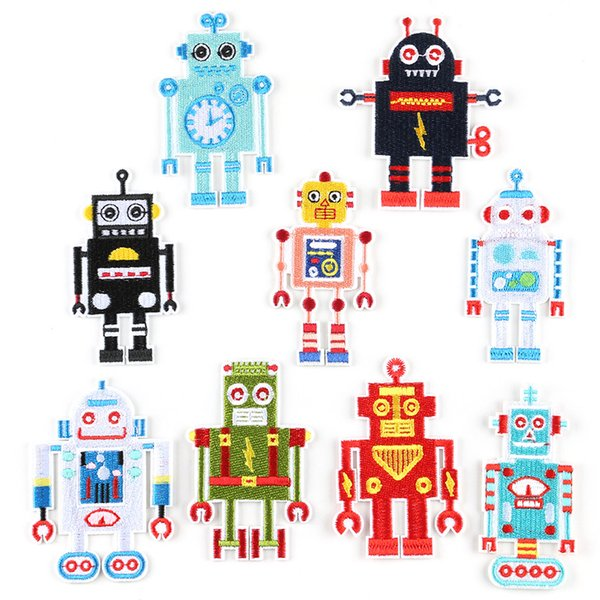 Cartoon Lovely Robot Embroidery Patches Sew Iron On Applique Patch Badge DIY Badges For Baby Kids Clothes Jeans Bag