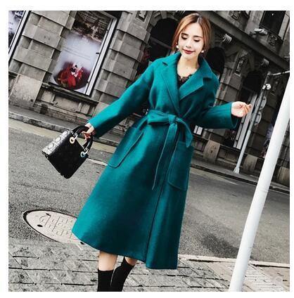 2018 Autumn winter New design fashion women's turn down collar peacock blue woolen sashes midi long abrigos coat casacos SML