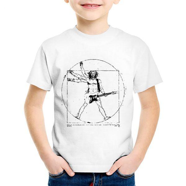 Da Vinci Rock Printed Children Fashion T-shirts Kids Music Guitar Summer T shirt Boys/Girls Casual Cool Tops Baby Clothes,HKP767