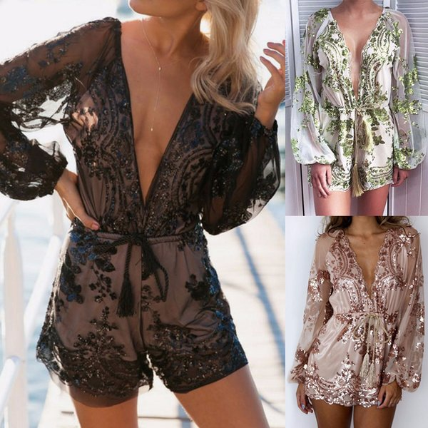 Women'S Sexy Deep V Sequins Jumpsuit Long Sleeve Perspective Loose Comfort One-Piece Shorts