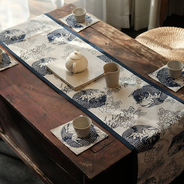 Chinese Classical style Navy Blue carp Cloth Art Cotton and Hemp Table runner Ethnic style Inn Bed Towel table Tea Towel