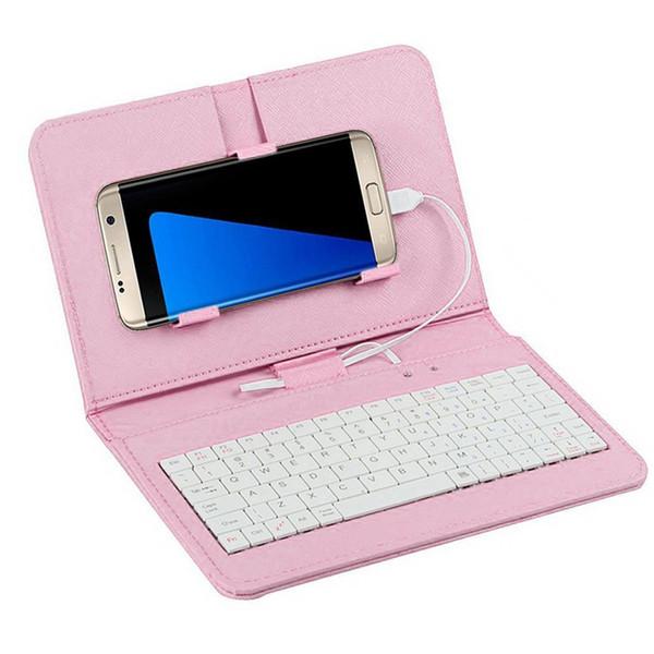 Funda con teclado para teléfono con tapa general portátil con cable para Android OTG Micro USB Hogar, oficina, teléfono de viaje