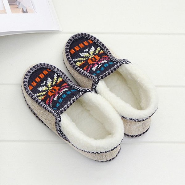 drop ship&wholesale women winter fluffy plush lining slippers colorful sunflower knit floor shoes nov.19