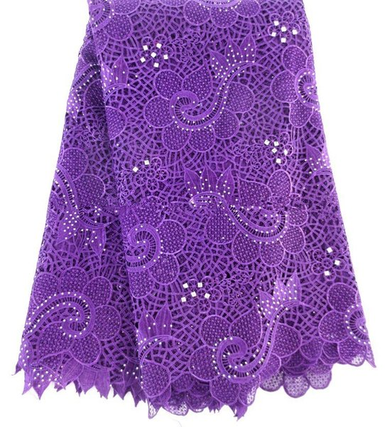 High quality African French net lace fabric Purple color for wedding dress 2015 Guipure cord lace for nice material.