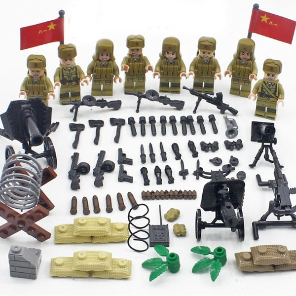 4pcs/set Military Chinese Army Solders Cute Building Blocks Figures Bricks Models Kits Toys Children Gift