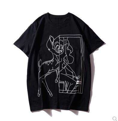 Tendencia de verano en Europa y América hombres y mujeres con estampado animal Camiseta cosida suelta parejas casuales camisa de algodón de fondo