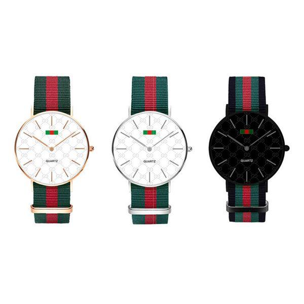 Quartz Nylon Strap Watch Casual Men 40mm Ladies 36mm Black Complex Colorful Nylon Watches Military Watch
