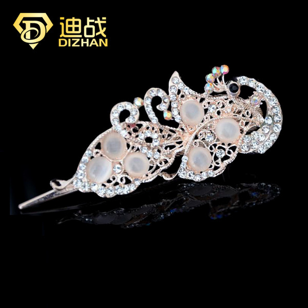 Vintage Original Headdress Head Hair Ornaments Small Jewelry Korean Opal Crystal Peacock Hairpins Side Clip Duckbill Clip C19041101