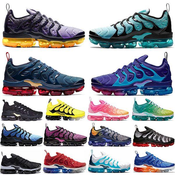 Nike Air Max VAPORMAX TN Plus Koşu Ayakkabıları Erkekler kadınlar Için ÜZÜM Parlak Crimson Hyper Volt Kurt Gri Erkek Eğitmenler Sneaker