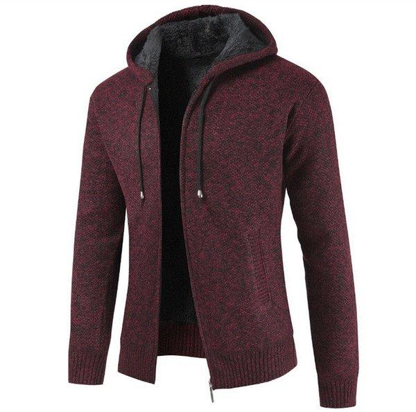 Moda chaqueta con capucha para los hombres causales abrigos gruesos otoño e invierno Cardigan de manga larga para hombre con cremallera volar sudaderas