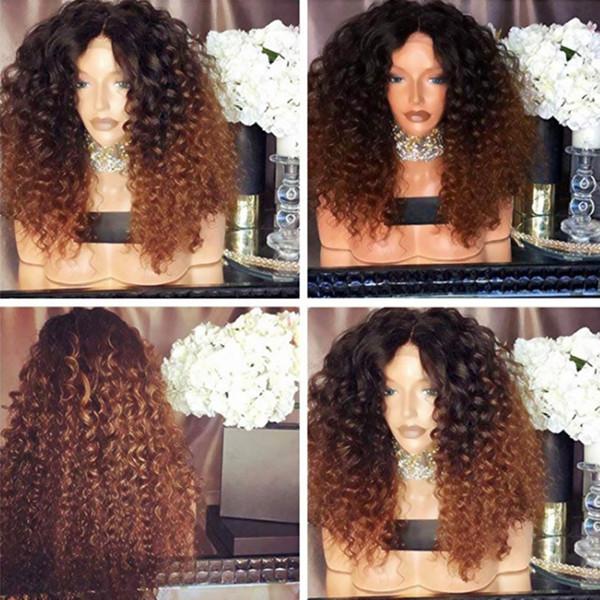 Noir Racines Ombre Brun Afro Kinky Cheveux Bouclés Synthétique Perruques Synthétiques Avant de Lacet Perruques Naturelles Résistantes À La Chaleur Naturelles 180% Densité Pour Femmes