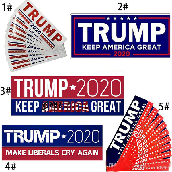 2019 المبيعات الساخنة 5 أنماط دونالد ترامب 2020 ملصقات السيارات 10 قطعة / الوحدة الوفير ملصق تبقي أمريكا العظمى صائق سيارة التصميم سيارة المقرب 7.6 * 22.9