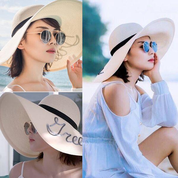 Hat female summer summer sun sun visor Korean version of wild straw hat beach along the Andy Liu Tao with the paragraph