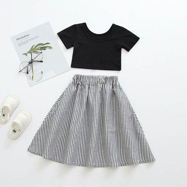 2019 novas meninas do Verão ternos de moda crianças roupas de grife meninas roupas tops + saia longa 2 pcs ternos do bebê criança meninas roupas 0-4t A6489