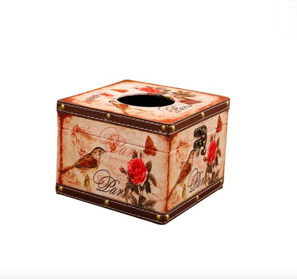 Vintage Square Tissue Box Decorative Case for Kitchen, Dining and Living Room Handmade MDF Wooden Tissue Case with Waterproof Faux Leather