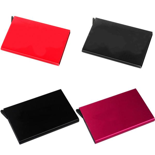 Automatico Silde Alluminio Designer ID Porta carte di credito Metal Magic Pop-up Custodia per carte Uomini Porta biglietti da visita Porte Carte Pocket