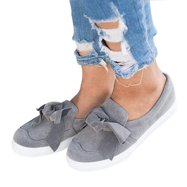 2019 New Fashion Women's Bow Flat Shoes Canvas Platform Slip on-Comfortable Closed Toe Lazy Shoes