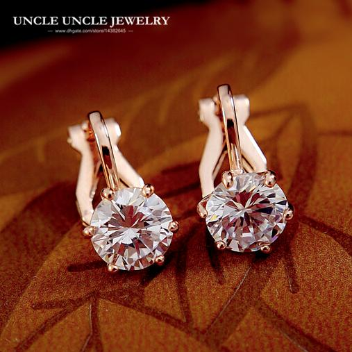 best selling Rose Gold Color Clear 7mm Round Zirconia 6 Prongs Women Clip Earrings No Piercing Wholesale Fashion Accessories