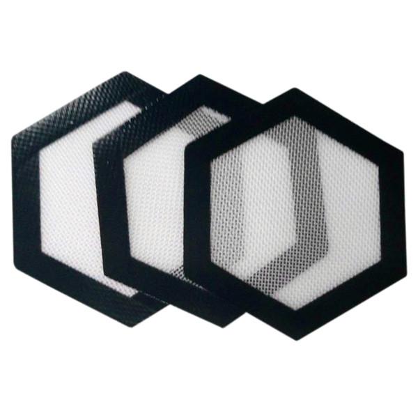 Silicone Mats FDA Food Grade Reusable Non Stick Concentrate Bho Wax Slick Oil Hexagon Shape Heat Resistant Fibreglass Silicone Dab Pad Mat