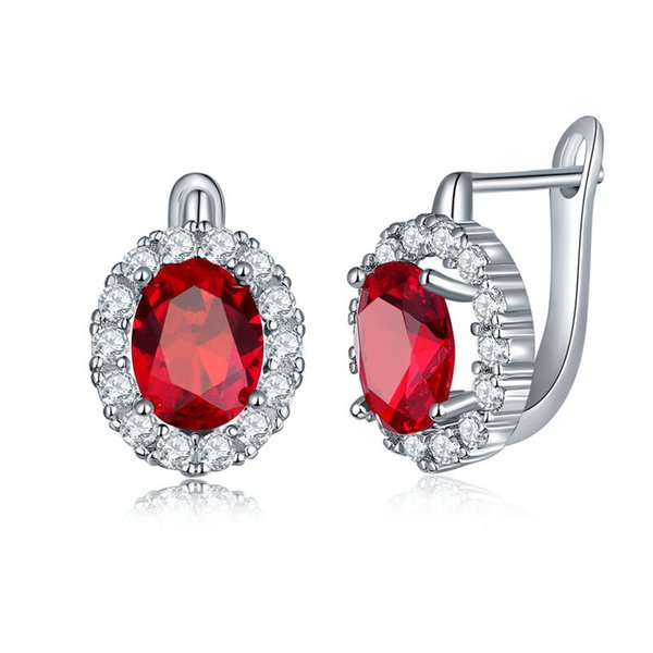 High quality fashion ladies crystal earrings Inlaid colored cubic zircon round engagement earrings Support wholesale 5-ER0273