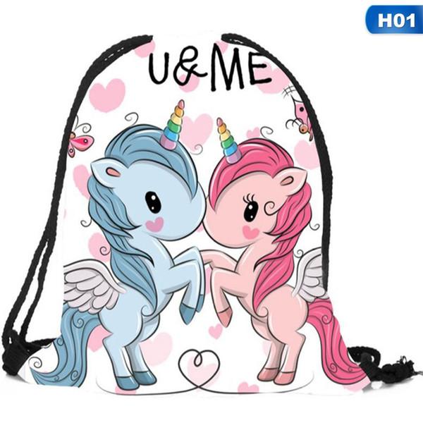 Unicorn Gym Pump Swim Bag Childrens Draw String Girls
