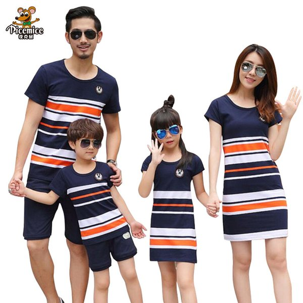 Plus Size Family Clothing 2019 Summer Fashion Striped T-shirt Outfits Mother Daughter Dresses Father Son Boy Girl Clothes set