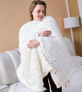 Couverture de grande taille en tricot de couverture géante Throw Super Big Bulky Arm Knitting Décor à la maison cadeau d'anniversaire