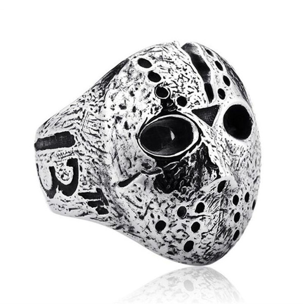 Black Friday Hockey Jason Mask SKull Band Rings Stainless Steel Jewelry Accessories 2019 Silver Halloween Rings For Men