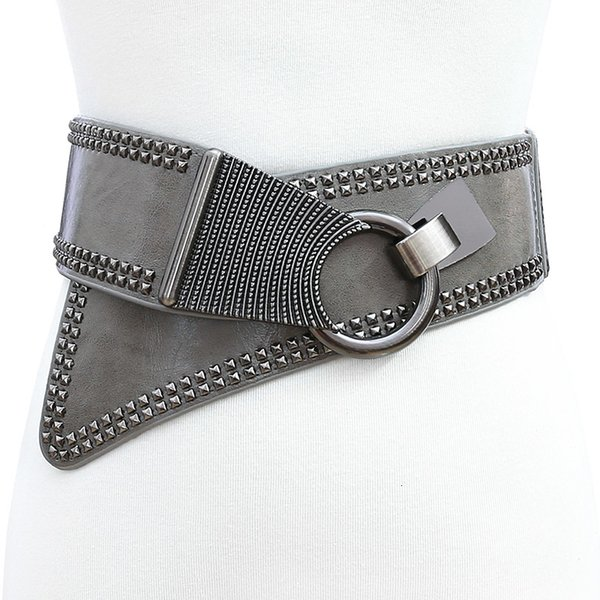 Alamana Solid Fashion Women Color Belt Pin Buckle Faux Leather Wide Waist Strap Waistband Black