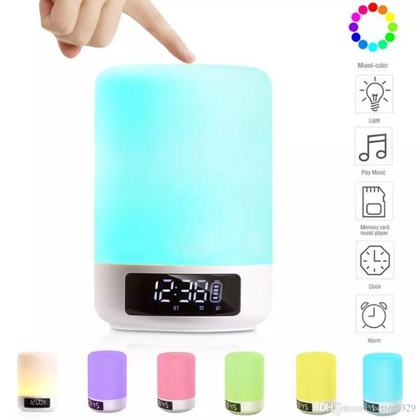Alarm clock tap lamp bluetooth speaker touch seven color lights bluetooth night light sound intelligent alarm touch control écouteurs blueto
