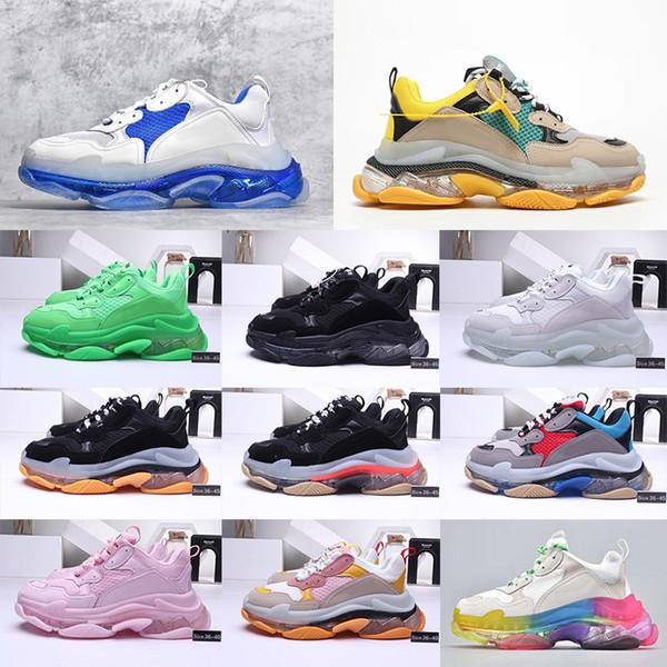 2020 Mode chaussures de sport plate-forme 17FW Triple-S papa pour femmes pas cher noir sport hommes de luxe de Triple S Vintage Taille Shoe EUR 36-45