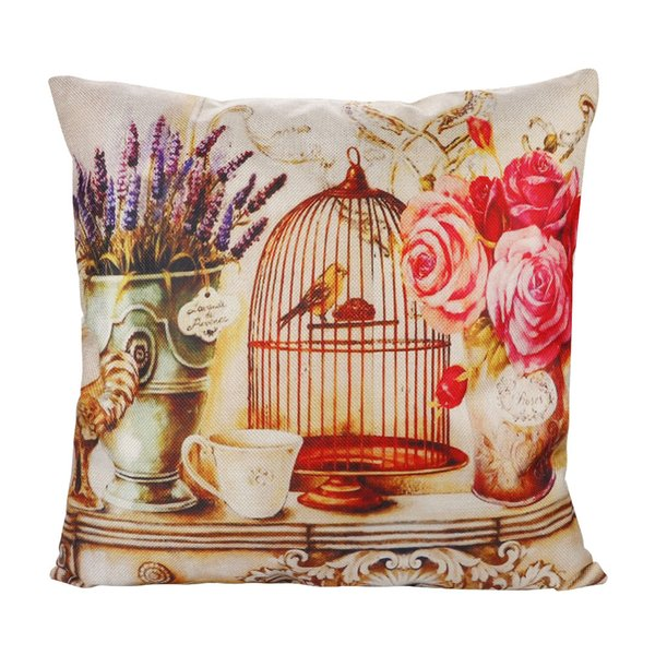 Merry Christmas Sofa Car Room Home Decorative Pillowcase Retro Design Cushion Cover Pillow Case Red Bird Rose Flower Home Decor