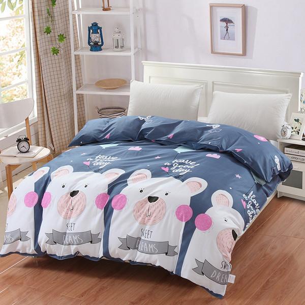 Neue Karikatur weißer Bär auf grauer gedruckter Bettwäsche scherzt rosa Bettbezug-nettes 100% Baumwollbett, das mit flacher voller Königin Kingsize eingestellt wird