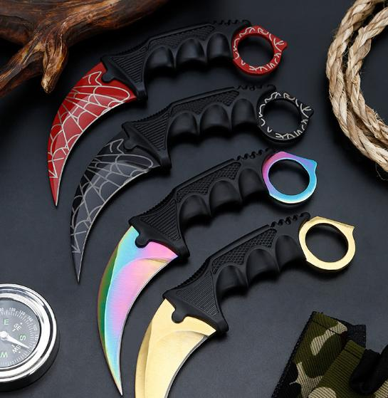 Hot Selling CSGO Counter Strike Karambit Knife with Sheath Outdoor Hunting Survival Fighting Knife Camping Tool Cool Gift for Brave Man