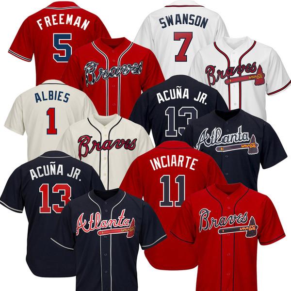 Atlanta Custom Braves Jerseys Ronald Acuna Jr. Austin Riley 27 Ozzie Albies Freddie Freeman Dansby Swanson Chipper Jones 10