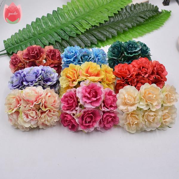 6pcs 4,5 centímetros de seda feitos à mão árvore da peônia Flores artificiais para a festa de casamento casa Hats Calçados Decoração DIY Casamento grinalda plantas