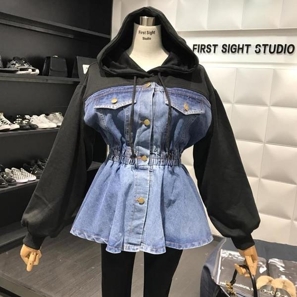 2019 Frühjahr neue Art und Weise mit Kapuze Strickjacke Stitching Jeansjacke feamle hohe Taille Einreiher gefälschte zwei Stücke Jacke wj1995 V191011