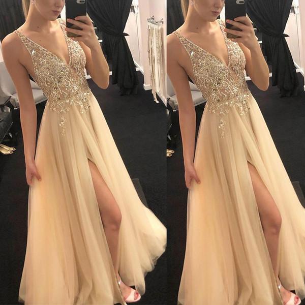 2019 сексуальные длинные платья V-образным вырезом без спинки Пром платья без рукавов развертки поезд дешевые тюль платье Vestidos de fiesta