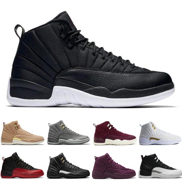 12 12s men basketball shoes Wheat Dark Grey Bordeaux Flu Game The Master Taxi Playoffs Sunrise Gym Red Royal Blue Suede Sports sneakers