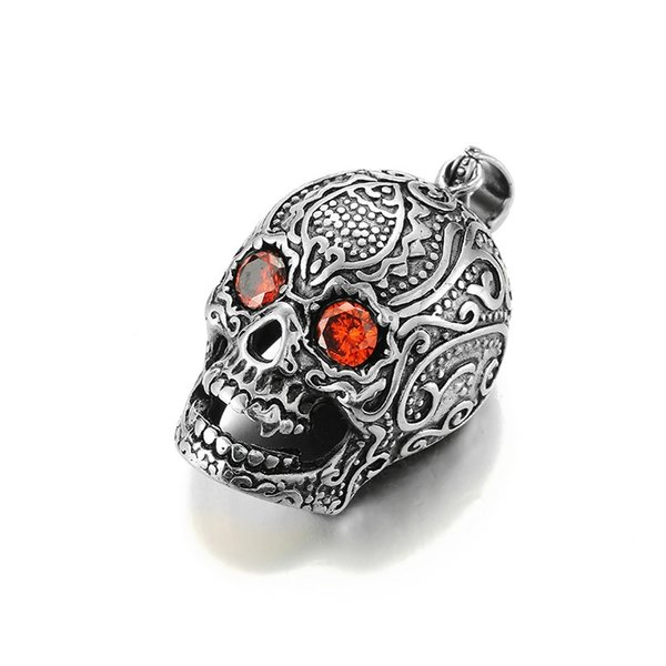 Skull Skeleton With Red Eyes Gothic Pendant 316L Necklace Chain Charm Fashion Hip Hop Jewelry For Men Titanium Stainless Steel