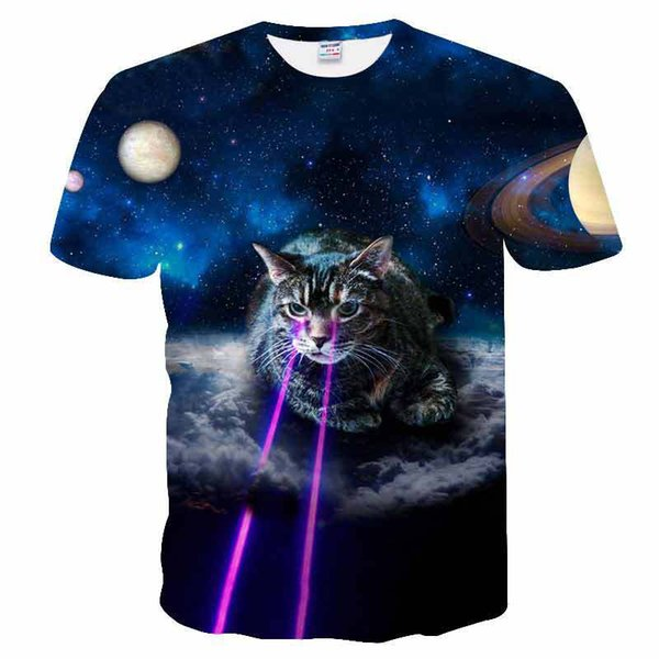 Cosmic Galactic Space Laser Cat New Funny Fashion T-shirt 3D Print Men/Womens Unisex Summer Round Collar Short Sleeve Casual Tops K914