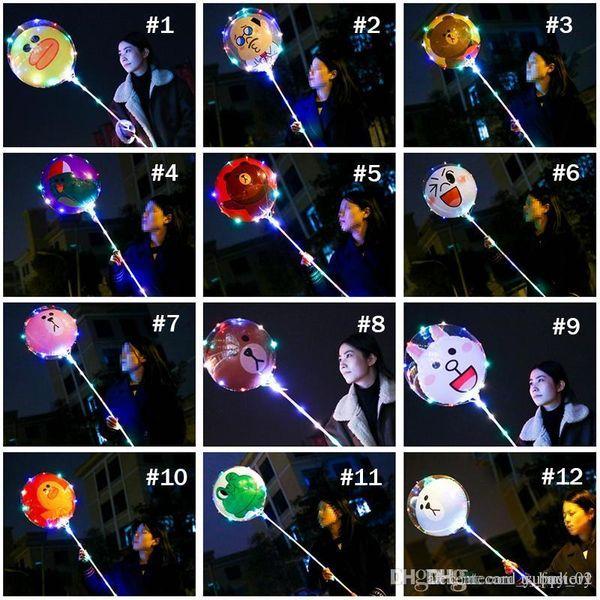 Bande Dessinée BOBO Ballon 18 pouces Led Allumer Ballon Transparent Ours Canard Enfants Ballons De Mariage Fête D'anniversaire Décoration 12 Styles