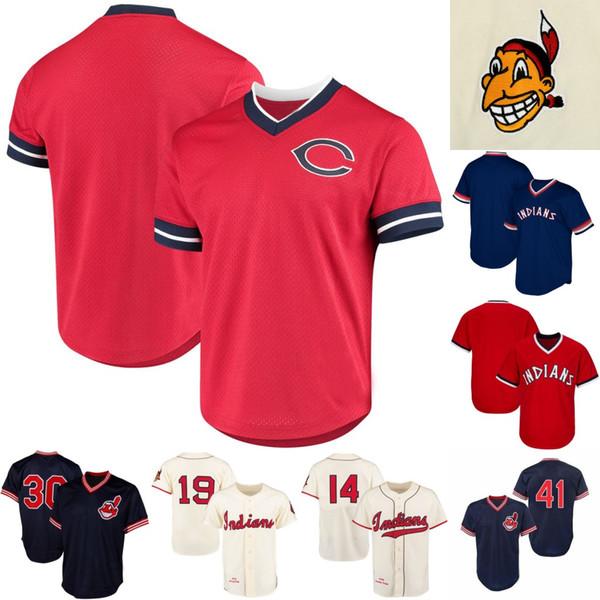 Mens Cleveland 41 Carlos Santana 1948 Satchel Paige 1951 Larry Doby 1986 Joe Carter Indians Retro Baseball Jerseys S-XXXL